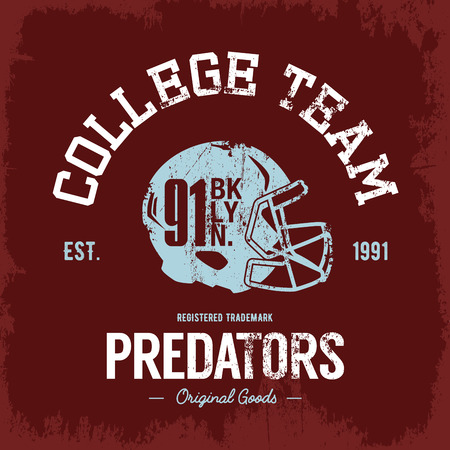 superior: Vintage American football collage team old grunge effect tee print vector design. Premium quality superior helmet retro logo concept. Shabby t-shirt and hoodie emblem. Illustration
