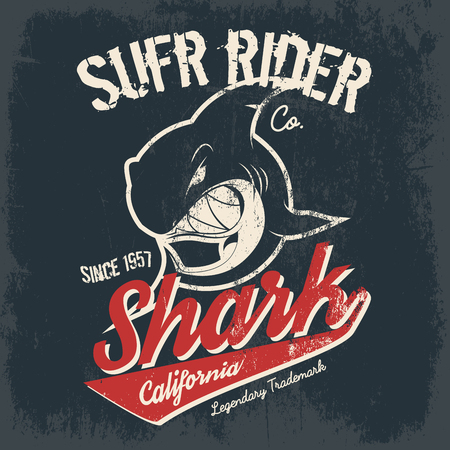 Vintage American old grunge effect tee print vector design. Premium quality superior shark retro logo concept. Shabby t-shirt and hoodie emblem.