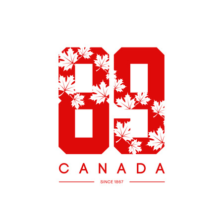 hoodie: Vintage Canada red tee print vector design. Premium quality superior 89 number logo concept. T-shirt and hoodie wear emblem.