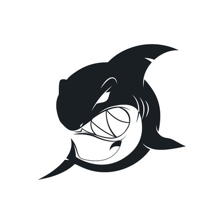 Wild black shark concept pictogram isolated on white background. Premium quality dangerous fish with large teeth sign vector illustration. Wicked emblem for tattoo and t-shirt print. Illustration