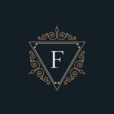 Luxury F logo vintage thin line template concept pictogram. Floral calligraphic elegant ornament linear emblem. Premium quality retro fashion outline sign vector illustration. Logo