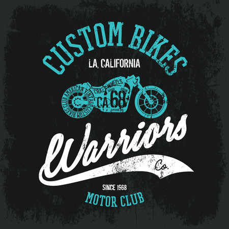 superior: Vintage American motorcycle old grunge effect tee print vector design. Premium quality superior bike retro logo concept. Motor club shabby t-shirt and hoodie emblem. Illustration