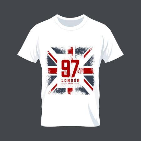 camisas: Diseño de la vendimia de la bandera camiseta de impresión vector de Reino Unido. De alta calidad Gran Bretaña supranúmero concepto. Londres camiseta de desgaste maqueta.