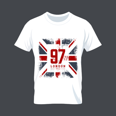 shirts: Vintage United Kingdom flag tee print vector design. Premium quality Great Britain superior number concept. London t-shirt wear mock up.