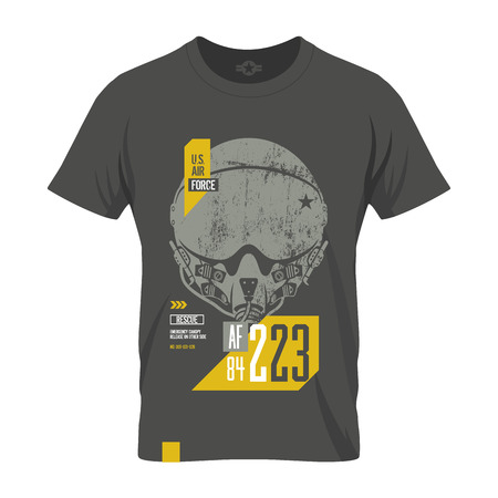 us air force: Modern American air force old grunge effect tee print design. Premium quality superior pilot helmet concept. Shabby t-shirt US aircraft emblem.