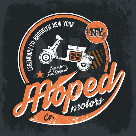 old new york: Vintage American moped old grunge effect tee print design illustration. Premium quality superior retro scooter concept. NY shabby t-shirt emblem.