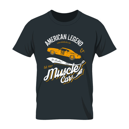 Vintage American muscle car old grunge effect tee print design illustration. Premium quality superior retro concept. Shabby t-shirt mock up.