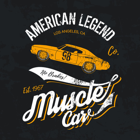cao: Vintage American muscle car old grunge effect tee print design illustration. Premium quality superior retro concept. Shabby t-shirt mock up.