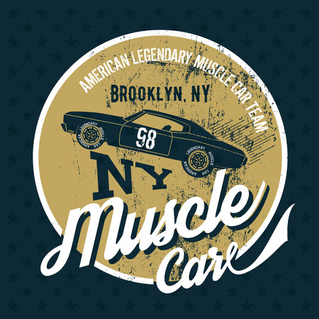 superior: Vintage American muscle car old grunge effect tee print vector design illustration. Premium quality superior retro logo concept. NY shabby t-shirt mock up. Illustration