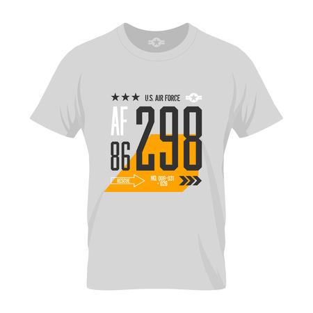 us air force: Modern american air force tee print vector design. Premium quality superior number logo concept. T-shirt US aircraft mock up.