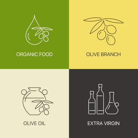 exceptional: Organic olive thin line logo concept. Exceptional natural oil calligraphic elegant linear emblem. Exclusive outline sign vector illustration. Set of simple icons.