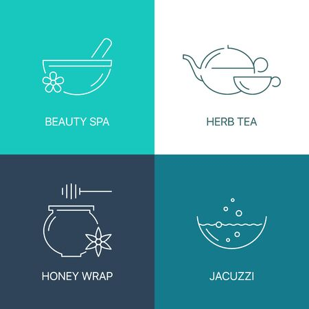 exceptional: Spa thin line concept. Exceptional natural calligraphic elegant linear icons set. Exclusive outline sign vector illustration.