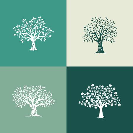 Prachtige eiken, olijf- en esdoorns silhouet ingesteld op groene achtergrond. Moderne geïsoleerde vector teken. Premium kwaliteit illustratie design concept.