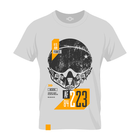 superior: Modern american air force grunge effect tee print design. Premium quality superior pilot helmet concept. T-shirt mock up.