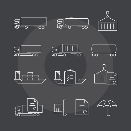 exceptional: Logistics thin line icons set on dark background. Exceptional elegant linear concept. Exclusive outline sign illustration.
