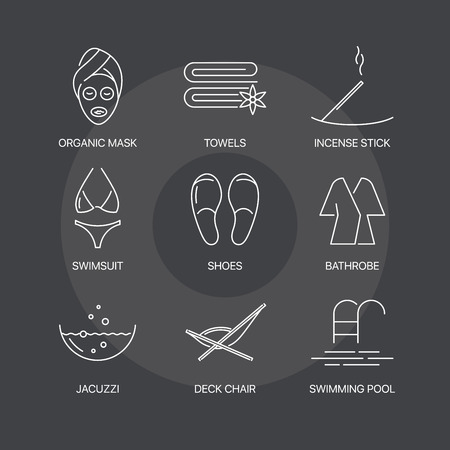 swimming candles: Premium spa thin line icons set on dark background. Exceptional elegant linear concept. Exclusive outline sign illustration. Illustration