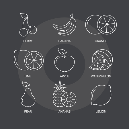 greengrocery: Organic fruit thin line icons set on dark background. Exceptional elegant linear concept. Exclusive outline sign illustration. Illustration