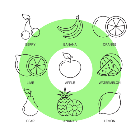 greengrocery: Organic fruit thin line icons set. Exceptional elegant linear concept. Exclusive outline sign illustration.