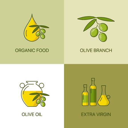 exceptional: Organic olive thin line color concept. Exceptional natural oil calligraphic elegant linear emblem. Exclusive outline sign illustration. Premium quality set of simple icons.