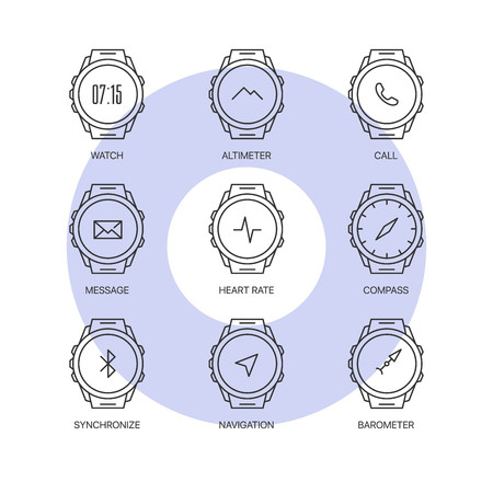 Smart watch functions thin line icons set. Exclusive gadget outline sign illustration. Premium quality digital clock web simple symbol collection. Illustration