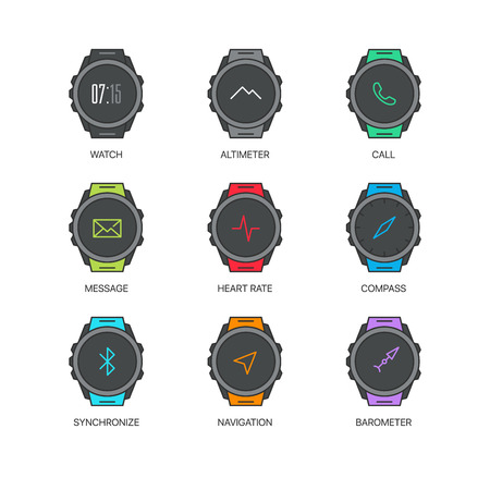 computerized: Smart watch functions thin line icons set. Exclusive gadget outline sign illustration.