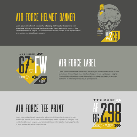 superior: Modern american air force banner design. Premium quality superior number logo concept. U.S. aircraft tee print.