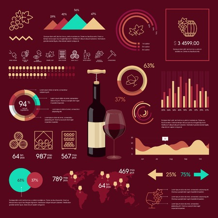 sniff: Premium quality wine infographic on vinous background. Modern web graphics linear icons.