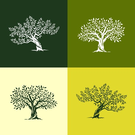 Beautiful magnificent olive tree silhouette icons set. Web graphics modern vector sign.