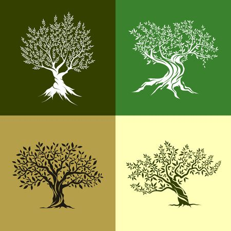 Olive trees silhouette isolated icon set.