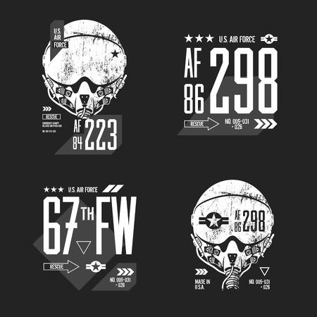 Moderne Amerikaanse luchtmacht oude grunge effect tee afdruk vector design set. Stock Illustratie
