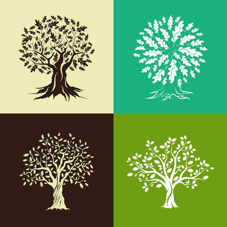 big cork: Beautiful oak trees silhouette set isolated on color background.