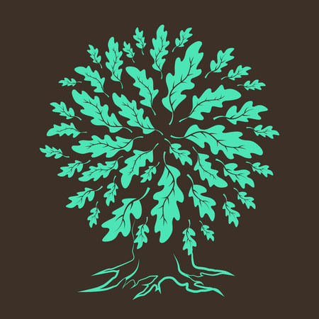 durability: Beautiful oak tree silhouette isolated on brown background.