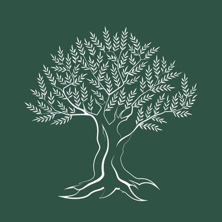 Icona di silhouette di profilo di olivo isolato su sfondo verde. Vettoriali