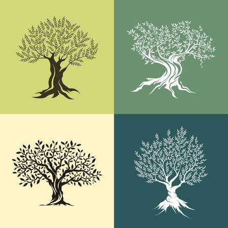 trees silhouette: Olive trees silhouette isolated icon set.