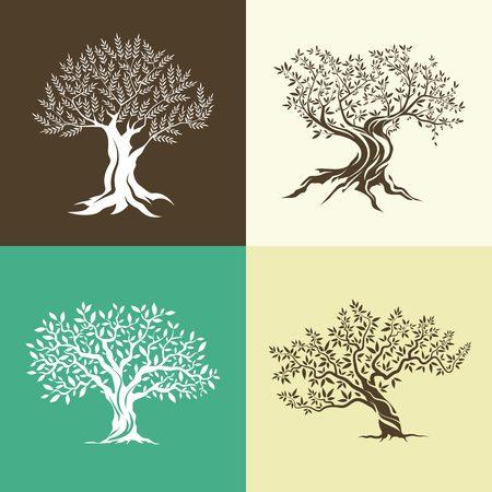 Olijfbomen silhouet geïsoleerd icon set.
