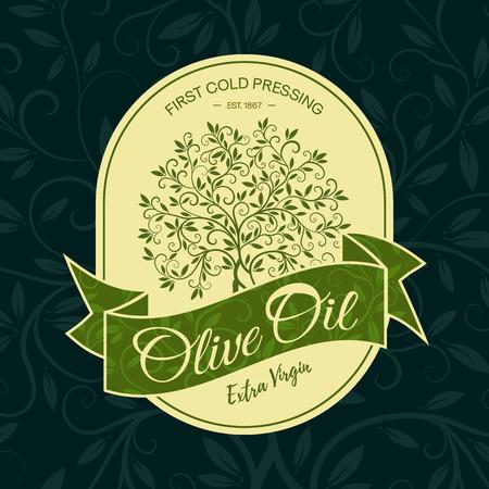 Extra virgin first cold pressing olive oil label modern vector illustration. Premium quality olive tree sticker logo design concept. Illustration