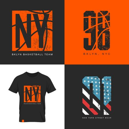 old new york: American flag and basketball old grunge effect tee print vector design.Premium quality superior sport number retro logo concept. New York street wear t-shirt emblem. Illustration