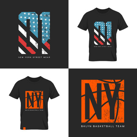 old new york: Vintage American flag and basketball old grunge effect tee print vector design.