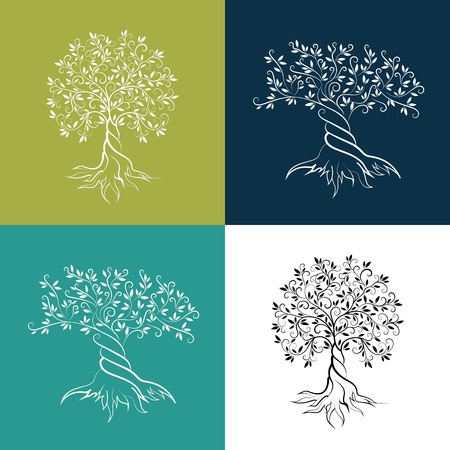 Olive trees isolated outline curl silhouette icon set.