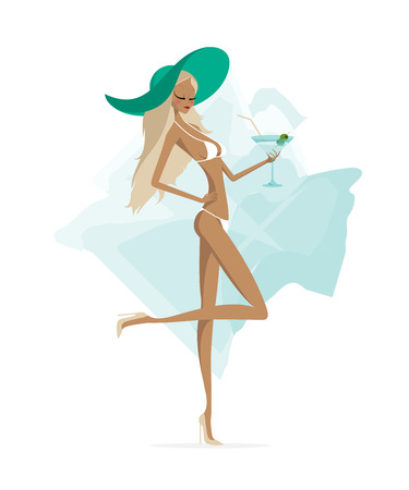 bikini model: Spectacular attractive slim fashion model blonde girl in bikini holding a glass of drink with olives in her hand.Exciting lady in swimsuit and high-heeled shoes on abstract background.