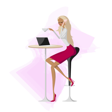 Spectacular attractive business woman sitting at a table in a cafe and talking on pink mobile phone. Slim fashion model blonde lady wearing a burgundy skirt and light blouse drinking aromatic coffee.