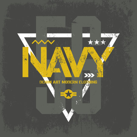 superior: Modern american navy grunge effect tee print vector design isolated on dark background. Premium quality superior military shabby number logo concept. Threadbare warlike label on khaki t-shirt.