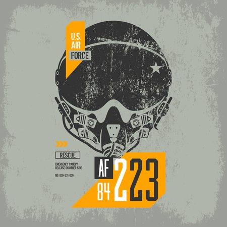 Modern american air force old grunge effect tee print vector design isolated on light background. Premium quality superior pilot helmet logo concept. Shabby t-shirt aircraft emblem illustration. Illustration