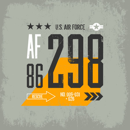 militant: Modern american air force tee print vector design isolated on light background. Premium quality superior military number logo concept. Shabby t-shirt aircraft emblem illustration.
