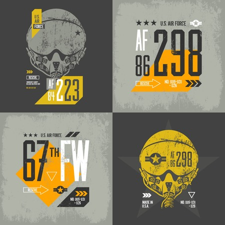 superior: Modern american air force old grunge effect tee print vector design set. Premium quality superior threadbare pilot helmet and number logo concept. Shabby t-shirt aircraft emblem illustration.