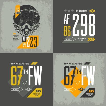 warlike: Modern american air force old grunge effect tee print vector design set. Premium quality superior threadbare pilot helmet and number logo concept. Shabby t-shirt aircraft emblem illustration.