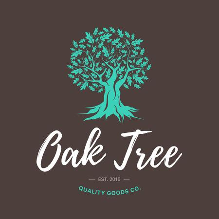 오크 나무 손수 초라한 로고 디자인 개념 갈색 배경. 웹 그래픽 현대 벡터 기호입니다. 빈티지 품질의 제품 공동. 삽화.