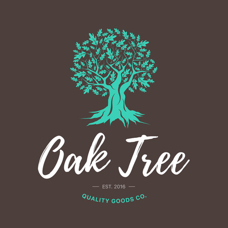 Oak tree handmade shabby logo design concept on brown background. Web graphics modern vector sign. Vintage quality goods co. illustration.