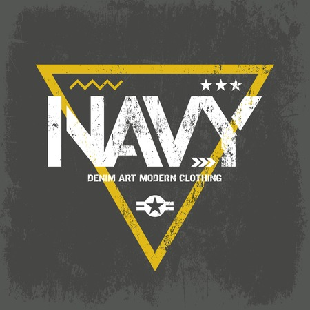 superior: Modern american navy grunge effect tee print vector design isolated on dark background. Premium quality superior military shabby logo concept. Threadbare warlike label for khaki t-shirt. Illustration