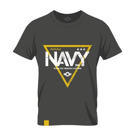warlike: Modern american navy grunge effect tee print vector design illustration. Premium quality superior military shabby logo concept. Threadbare warlike label khaki t-shirt mock up. Illustration